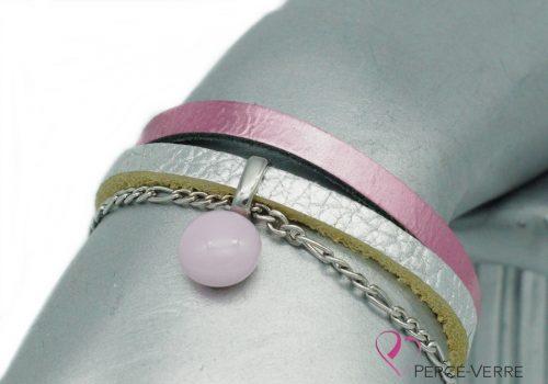 bracelet en cuir rose et argent avec breloque de verre, collection chic #1552