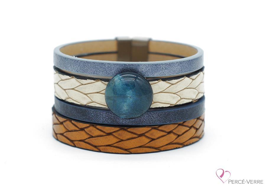 Bracelet bleu jeans et tan en cuir pour femme