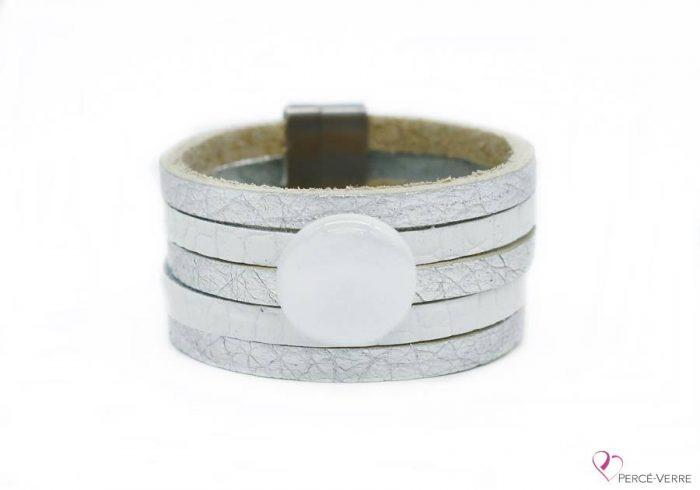 """Bracelet blanc et argent en cuir pour femme, """"Glamour"""" #2105"""