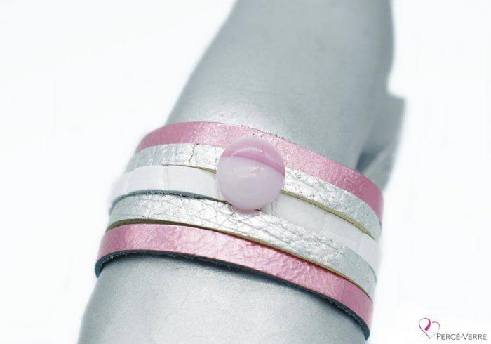 """Bracelet rose et argent en cuir pour femme, """"Glamour"""" #2110"""