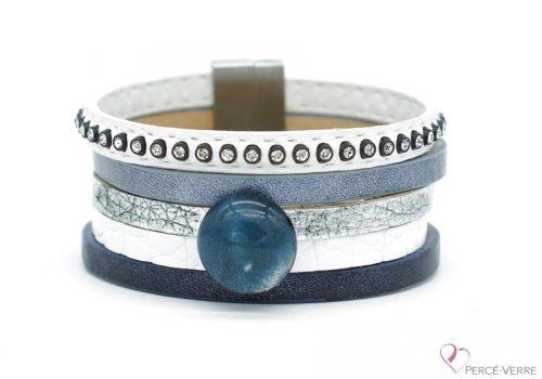 """Bracelet bleu jeans et blanc en cuir pour femme, """"Glamour"""" #2112"""
