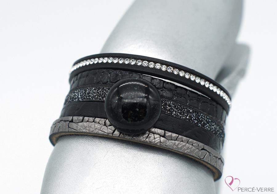 """Bracelet en cuir noir et argent pour femme et bijou de verre, """"Glamour"""" #2114"""
