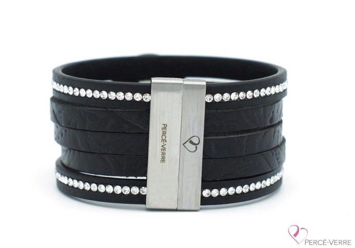 Bracelet en cuir noir avec zircons pour femme