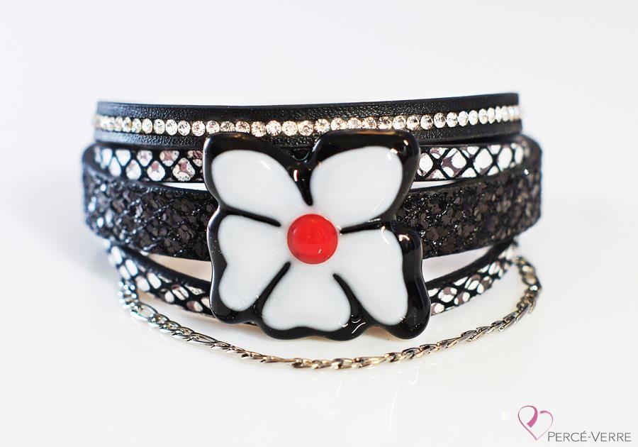 """Bracelet pour femme en cuir et verre, Collection """"Fleur"""" #162FR"""