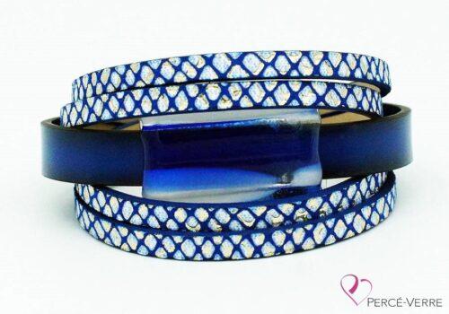 Bracelet en cuir bleu et blanc pour femme #006