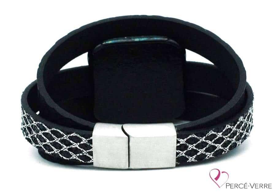 Bracelet en cuir noir et argent pour femme #002