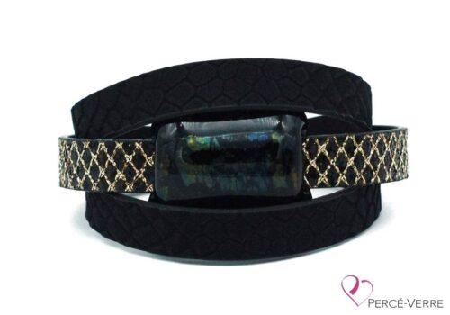Bracelet en cuir noir et or pour femme #004