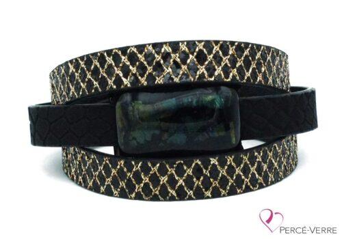 Bracelet en cuir or et noir pour femme #003