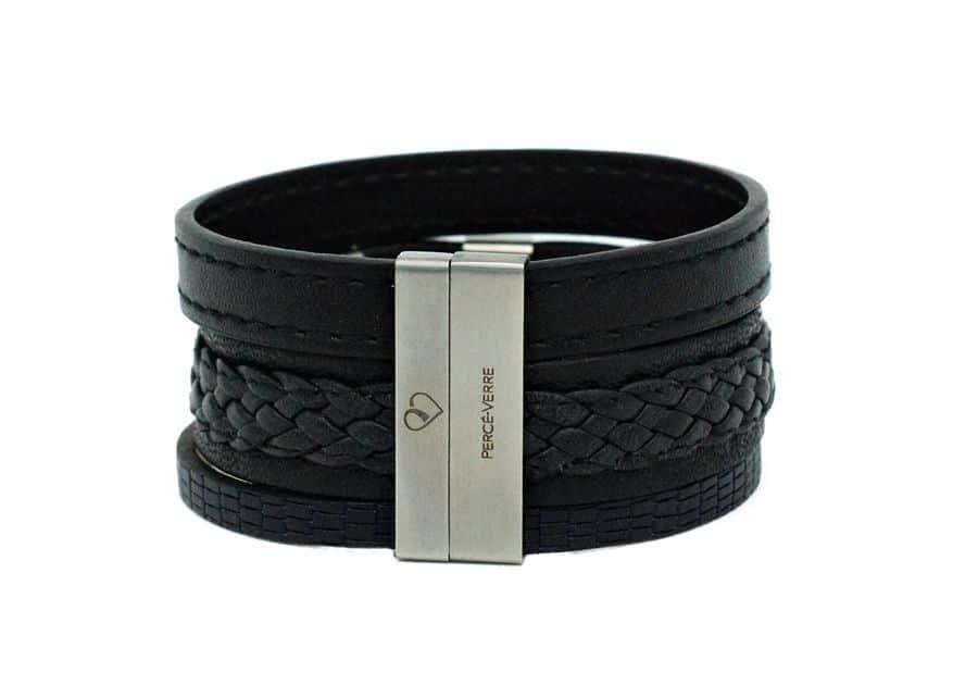 Bracelet en cuir large pour homme personnalisation-attache
