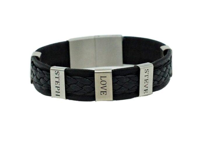 Bracelet en cuir noir tressé pour homme à personnaliser