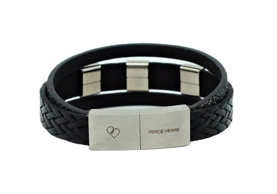 Bracelet LOVE en cuir noir pour femme personnalisation-attache