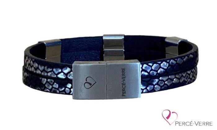 bracelet noir et argent personnalisation-attache