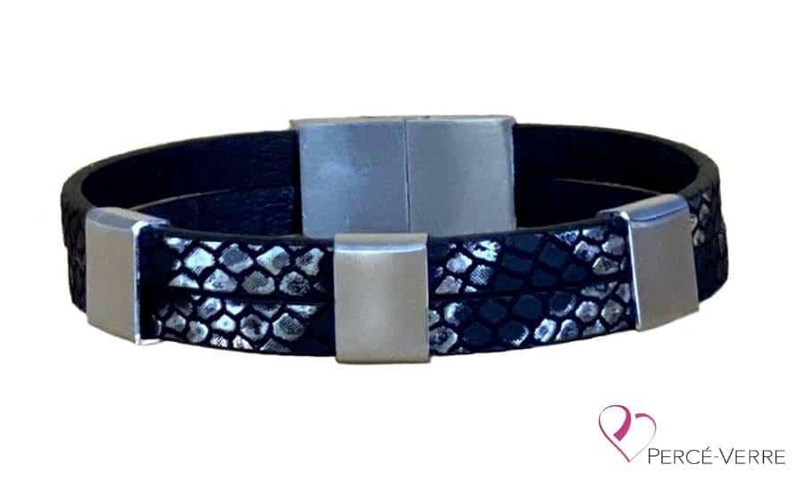 bracelet noir et argent personnalisation