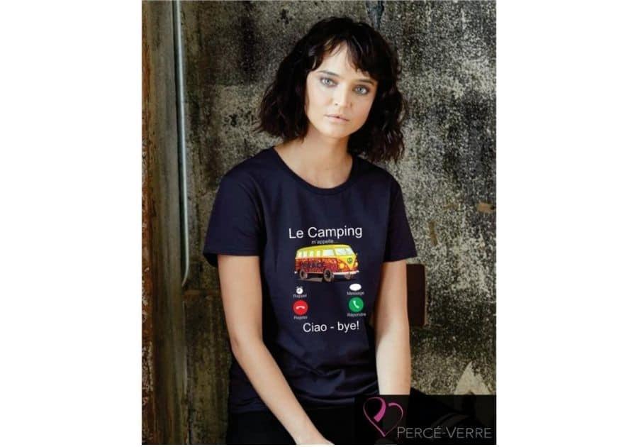 T-shirt femme gris le camping m'appelle