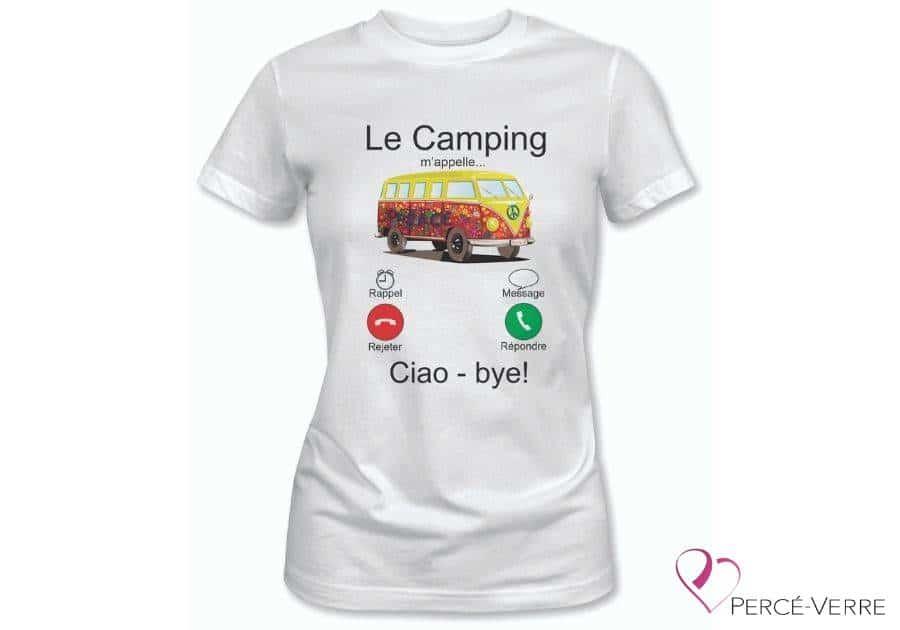 T-shirt femme blanc le camping m'appelle