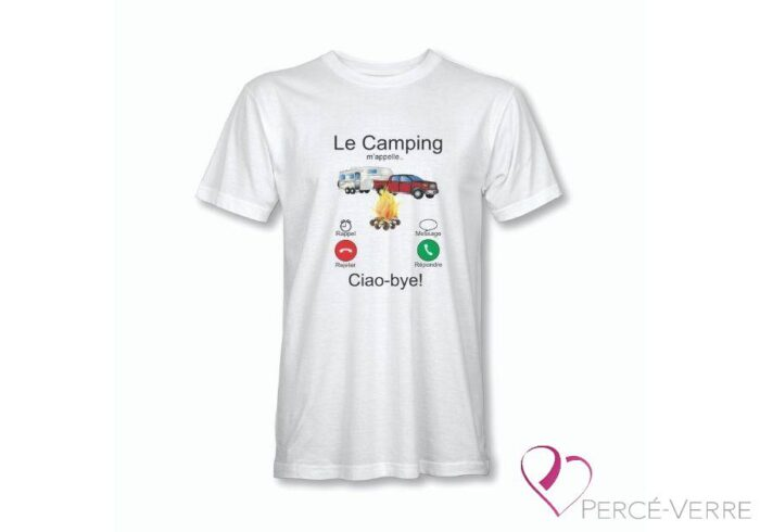 T-Shirt le camping m'appelle homme blanc-