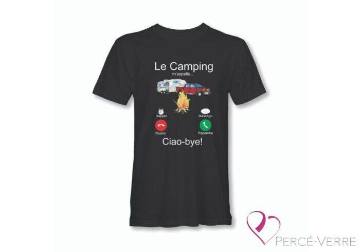 T-Shirt le camping m'appelle homme noi