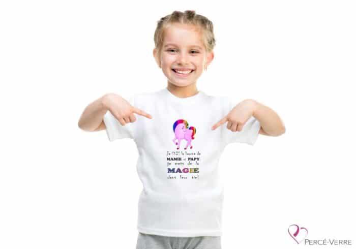 t-shirt enfants licorne de mamie et papy