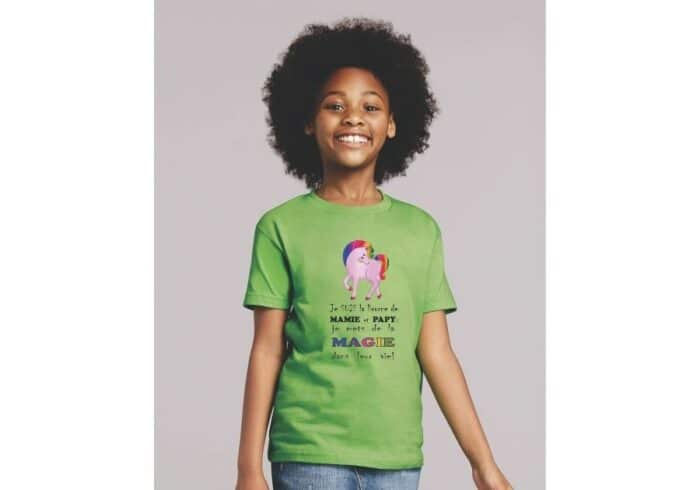 t-shirt enfants MODELE licorne mamie et papy