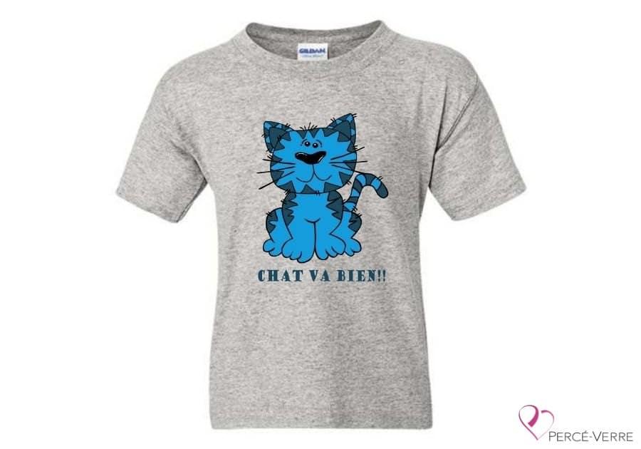 T-shirt chat va bien-bleu