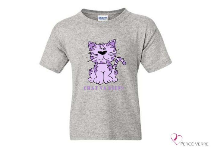 T-shirt chat va bien-mauve