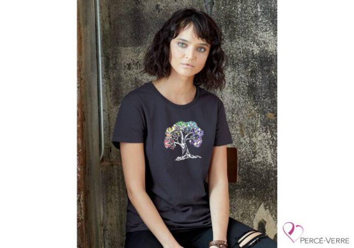T-shirt foncé + Arbre de vie + couleurs