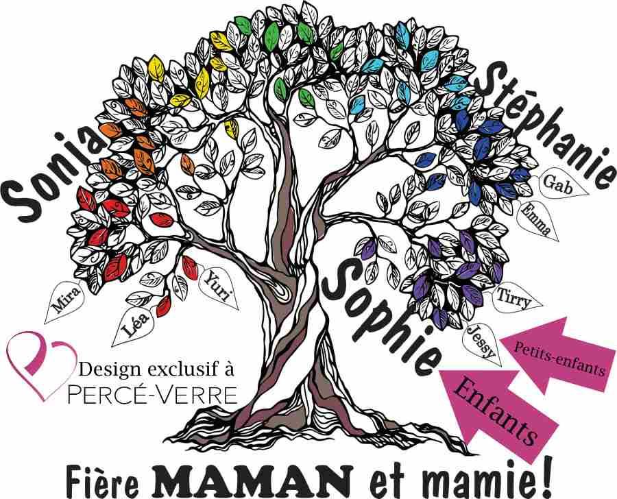 Arbre de vie T-Shirt fière maman et mamie-design