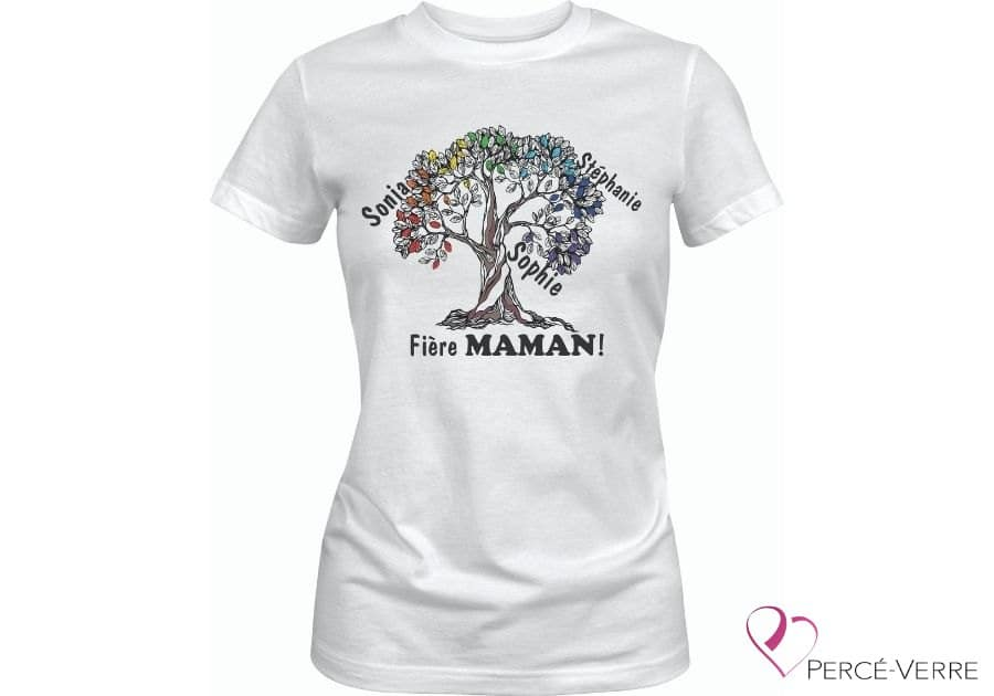 T-Shirt blanc Arbre de vie Fière Maman