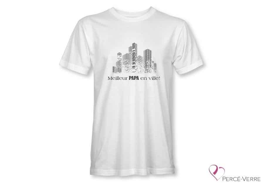T-Shirt blanc pour homme Meilleur Papa en ville