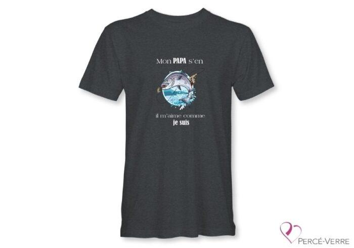 T-Shirt gris foncé pour homme Mon papa s'en fish