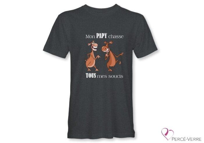 T-Shirt gris foncé pour homme Mon papy chasse-humour