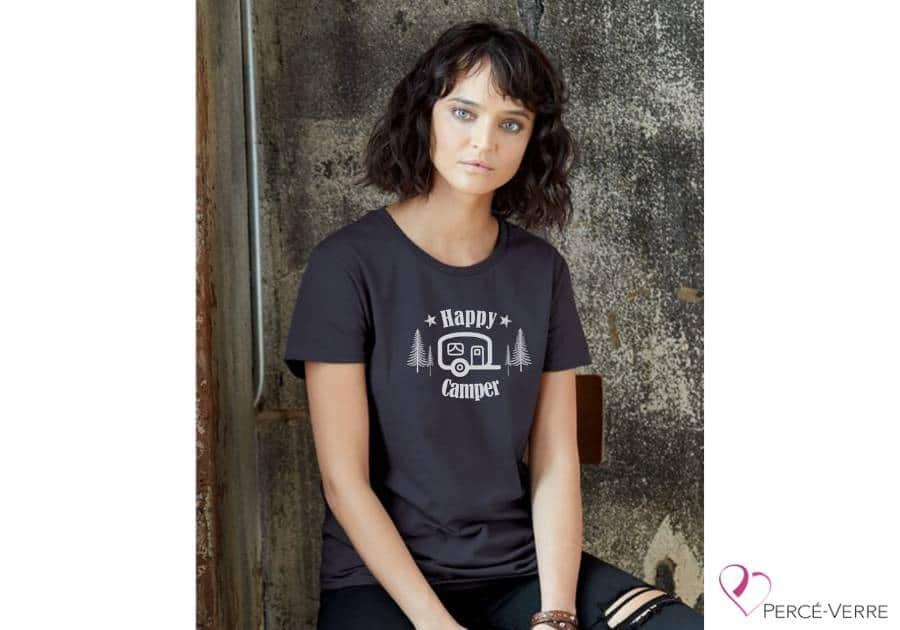 T-shirt femme Happy camper métallique ARGENT