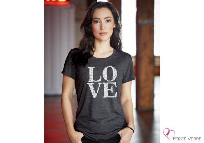 T-shirt femme LOVE métallique ARGENT