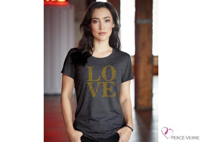 T-shirt femme LOVE métallique O