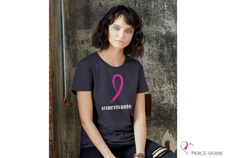 T-shirt femme survivante ruban rose