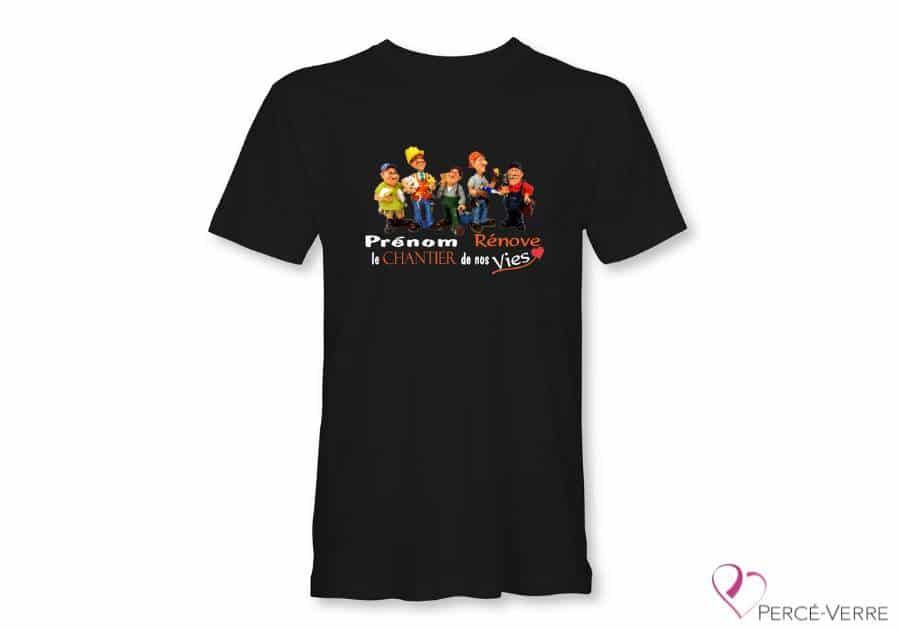 """T-Shirt noir """"XXX rénove le chantier de nos vies"""""""