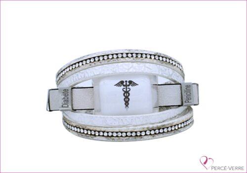 Bracelet Médical en cuir blanc pour femme