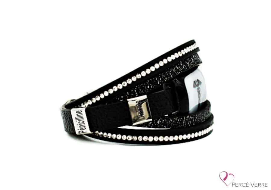 Bracelet Médical en cuir noir pour femme (side)