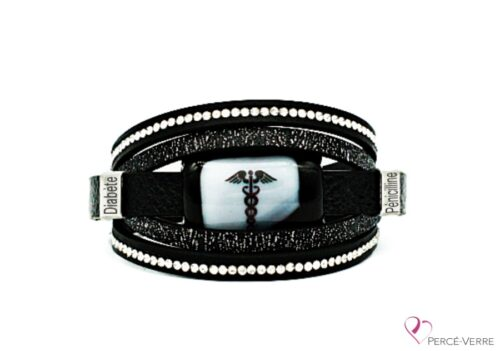 Bracelet Médical en cuir noir pour femme