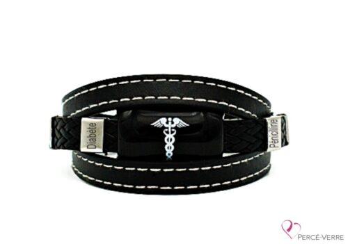 Bracelet Médical en cuir noir pour homme (coutures blanches)