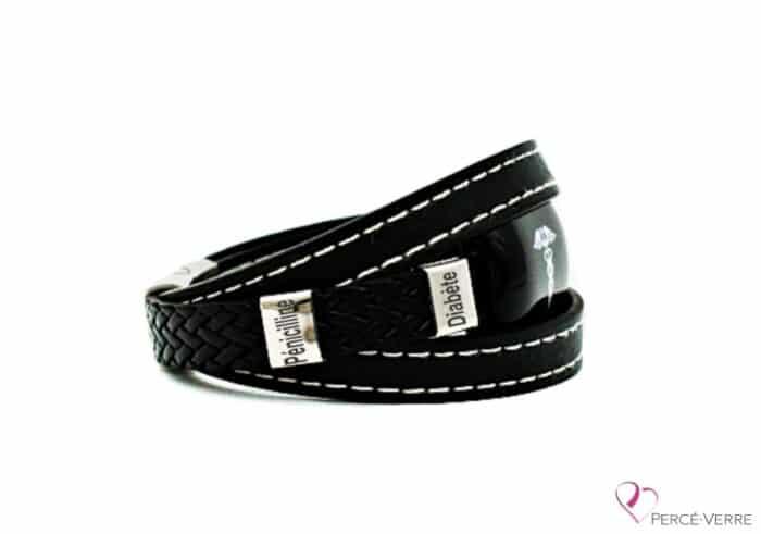 Bracelet Médical en cuir noir pour homme SIDE(coutures blanches)