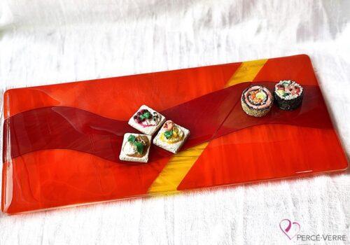 Assiette 8 x 18 rouge, orange et jaune
