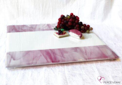 Assiette service rose et blanc